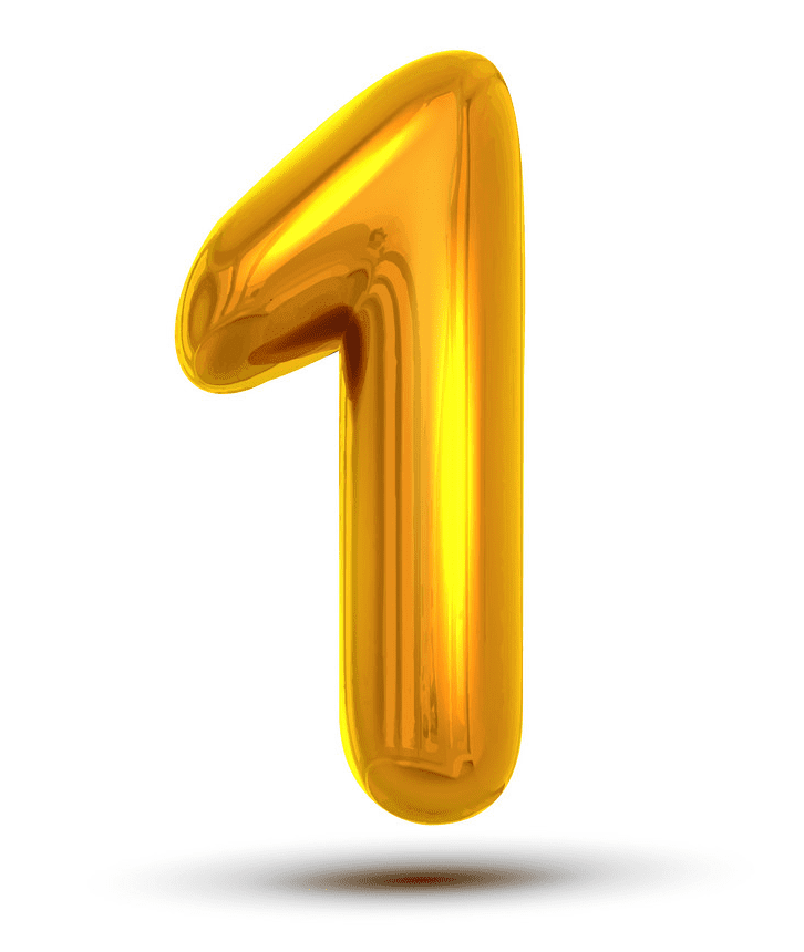 Yellow Number 1 clipart